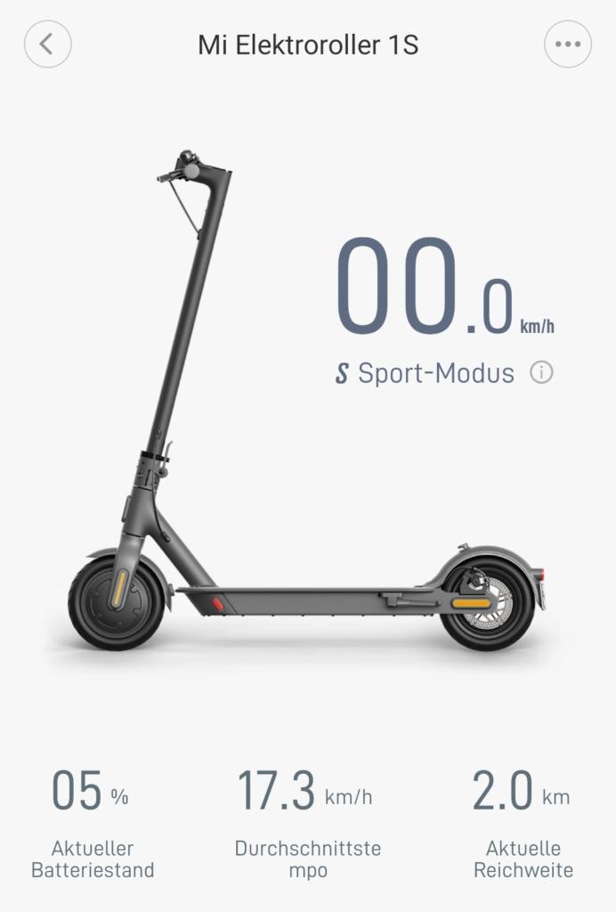 Xiaomi E-Scooter Akkustand in der App